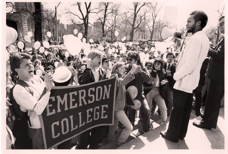 Vintage photo showing Emerson College students protesting cutbacks to financial aid in 1982