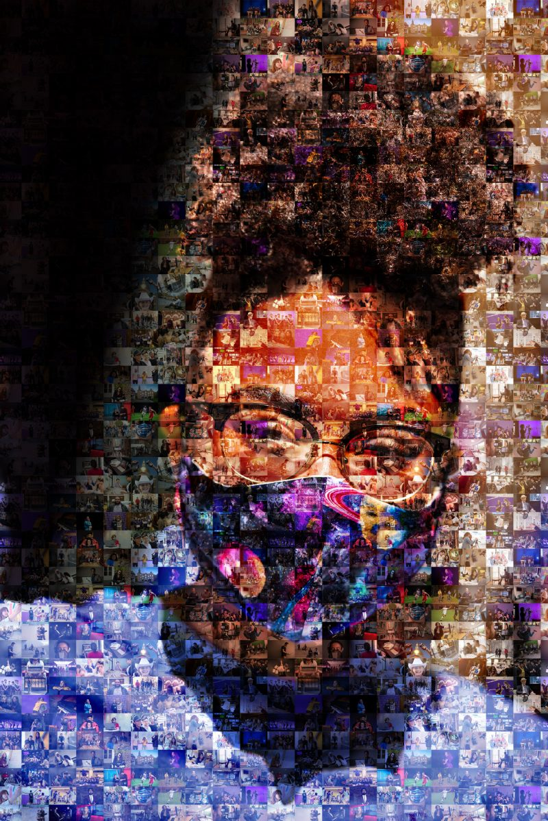 Photo collage of student wearing glasses and a face covering by Derek Palmer: Photo collage