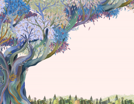 Illustration of a multi-colored tree standing tall in a forest by artist Monica Chu