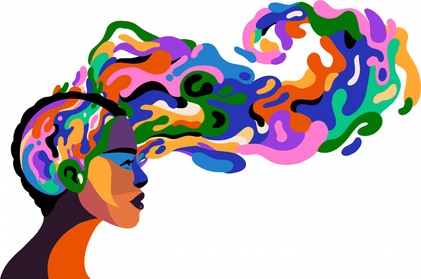 Teach-in on Race illustration of a person's head with colors flowing out