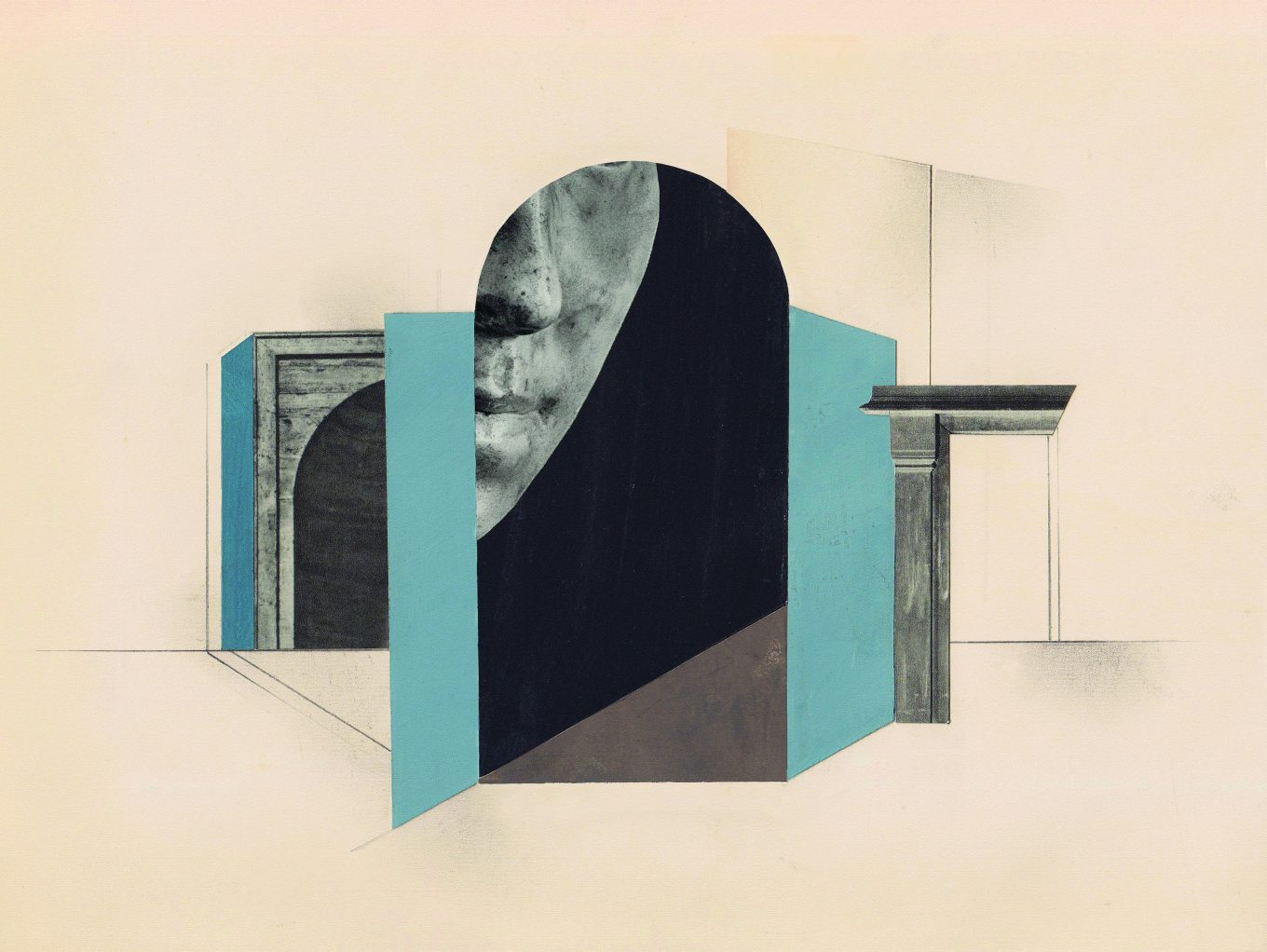 Concept art of a person's face appearing partially through a doorway