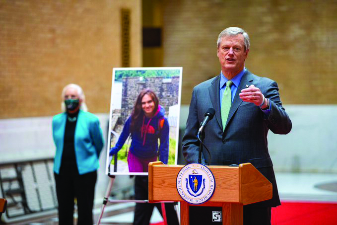 Governor Charlie Baker speaking at a podium at an event to pass Laura's Law