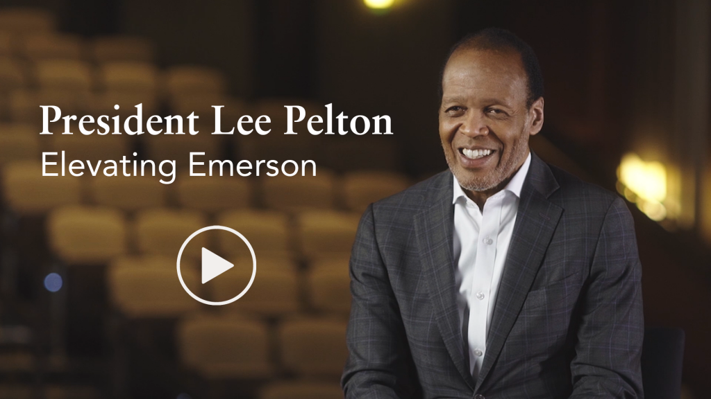 """Video thumbnail with play button and  photo of Lee Pelton and text reading """"President Lee Pelton - Elevating Emerson"""""""
