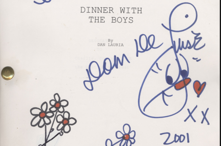 """Script title page which reads: """"Dinner with the Boys"""" by Dan Lauria"""