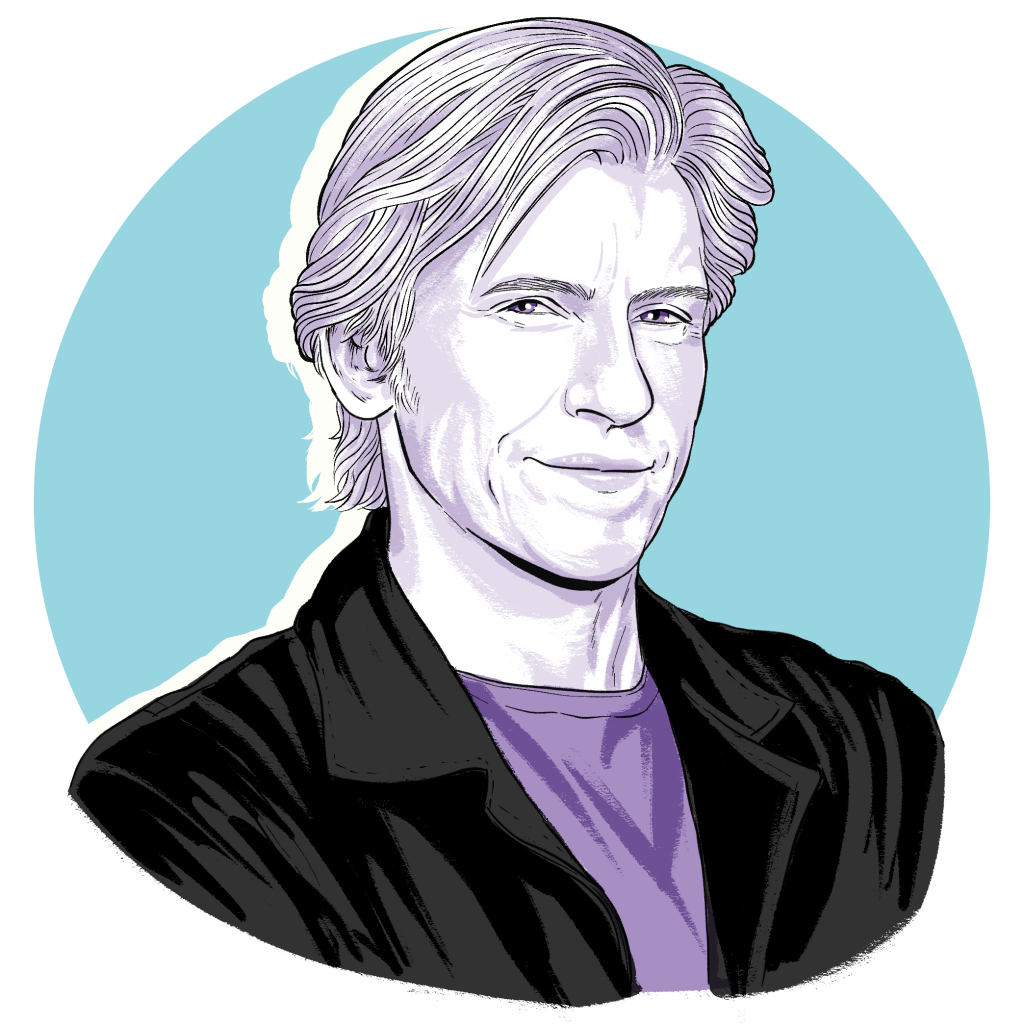 Illustration/portrait of Denis Leary by Monica Chu