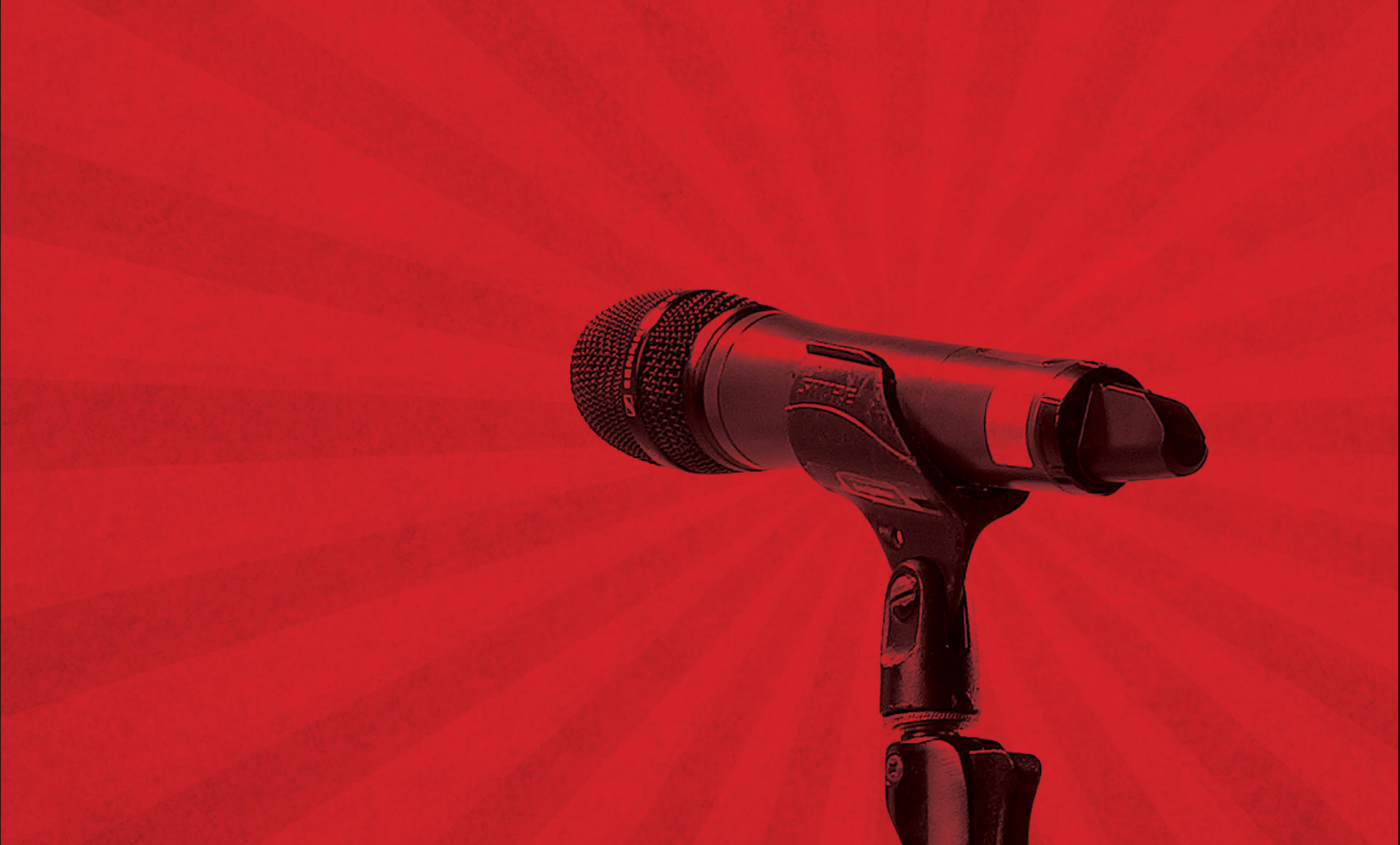 Microphone graphic set against a red background